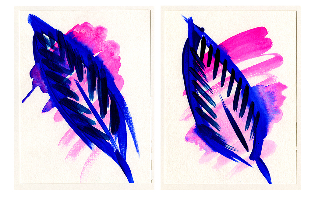Erin Rachel Hudak, Feather (1) and Feather (2), 2014, 8x6""