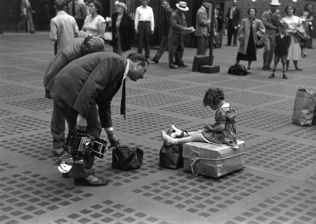 "Ruth Orkin, Photographers with Little Girl, Penn station, NYC, 1947 11"" x 14"""